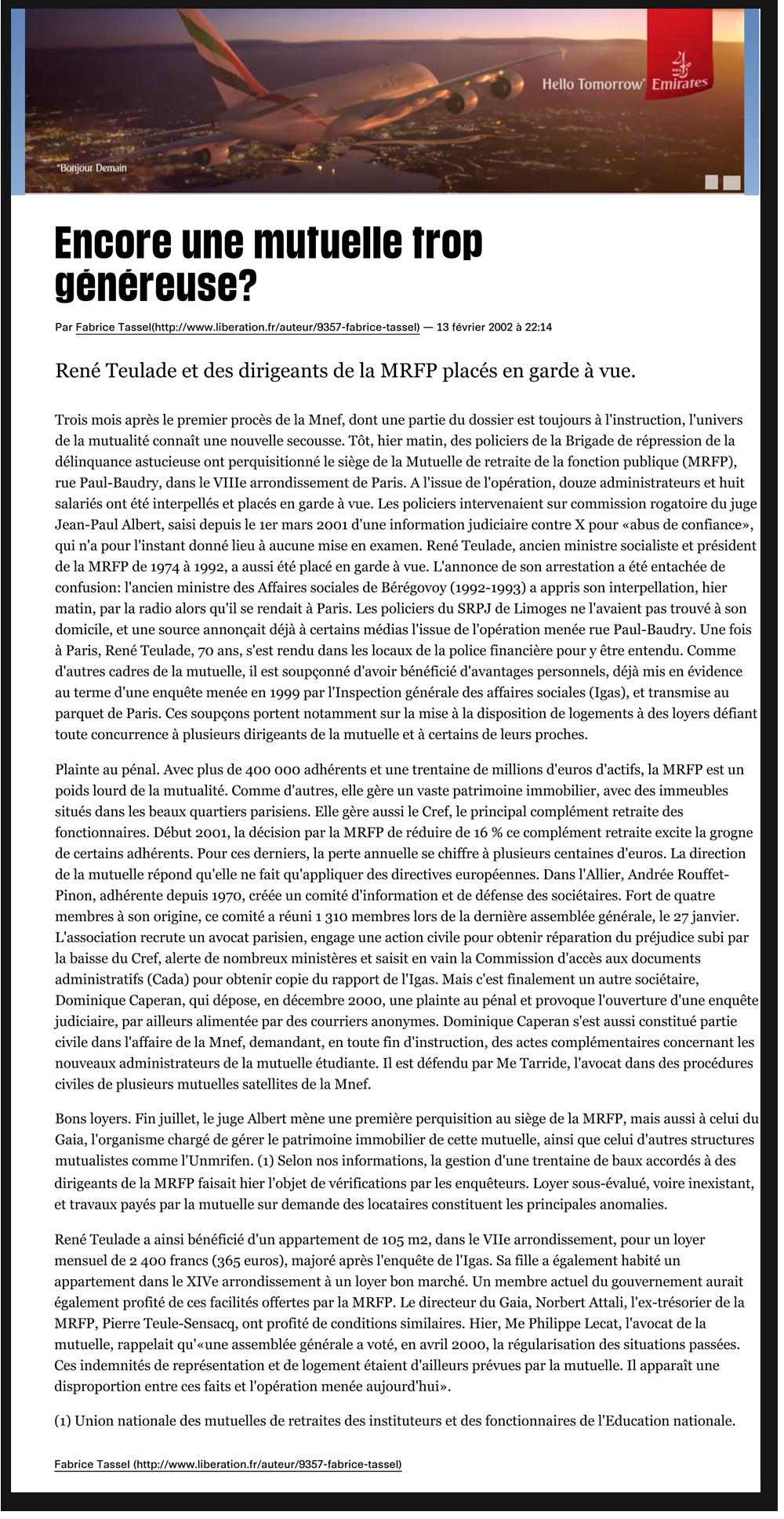 """Article Libération """"Encore un Mutuelle trop généreuse ?"""""""