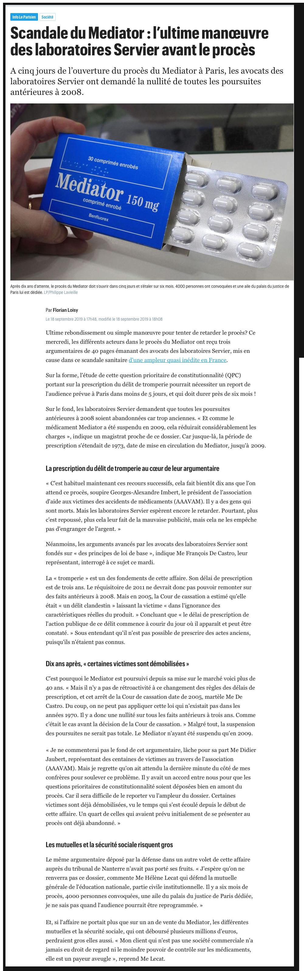 Le Parisien : Scandale du Médiator