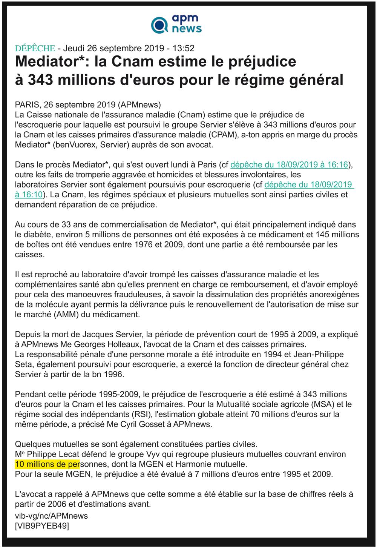 apm - Mediator : la Cnam estime le préjudice à 343 millions d'euros pour le régime général