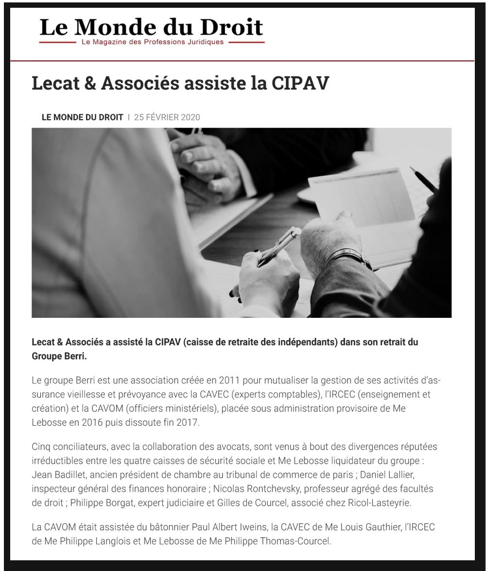 Le Monde du Droit : Lecat & Associés assiste la CIPAV