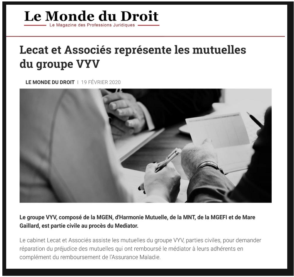 Le Monde du Droit : Lecat & Associés représente les mutuelles du groupe VYV