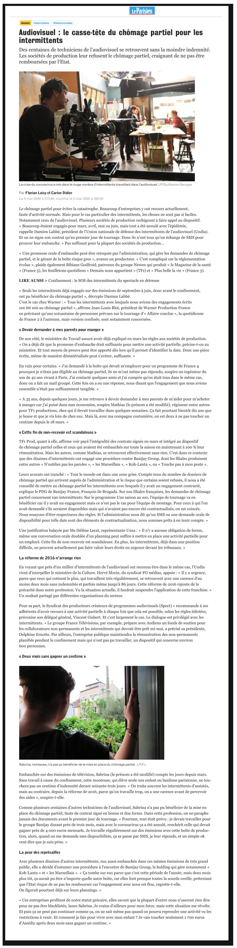Le Parisien : Audiovisuel : le casse-tête du chômage partiel pour les intermittents
