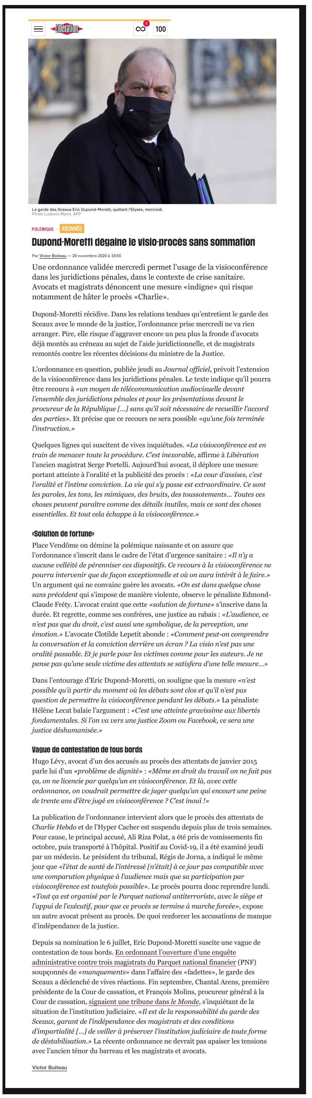 """Article Libération """"Dupond-Moretti dégaine le visio-procès sans sommation"""""""