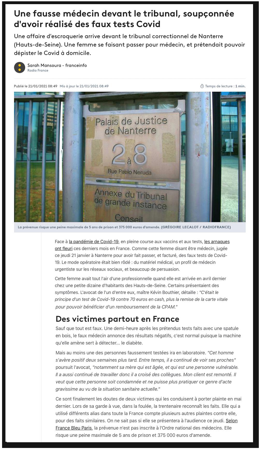 France Info : Une fausse médecin devant le tribunal, soupçonnée d'avoir réalisé des faux tests Covid