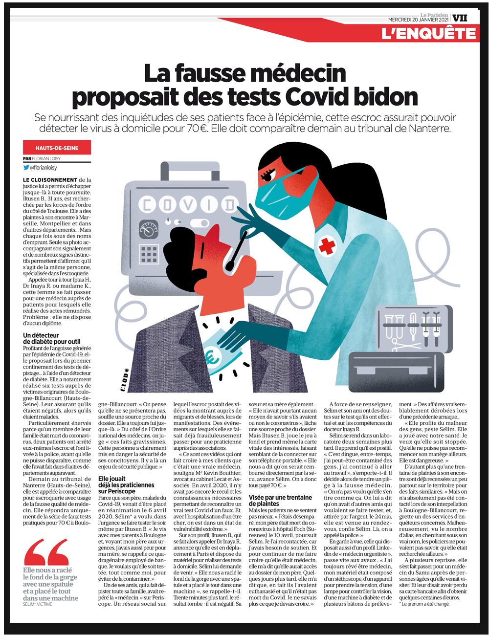 Le Parisien : la fausse médecin proposait des tests Covid bidon