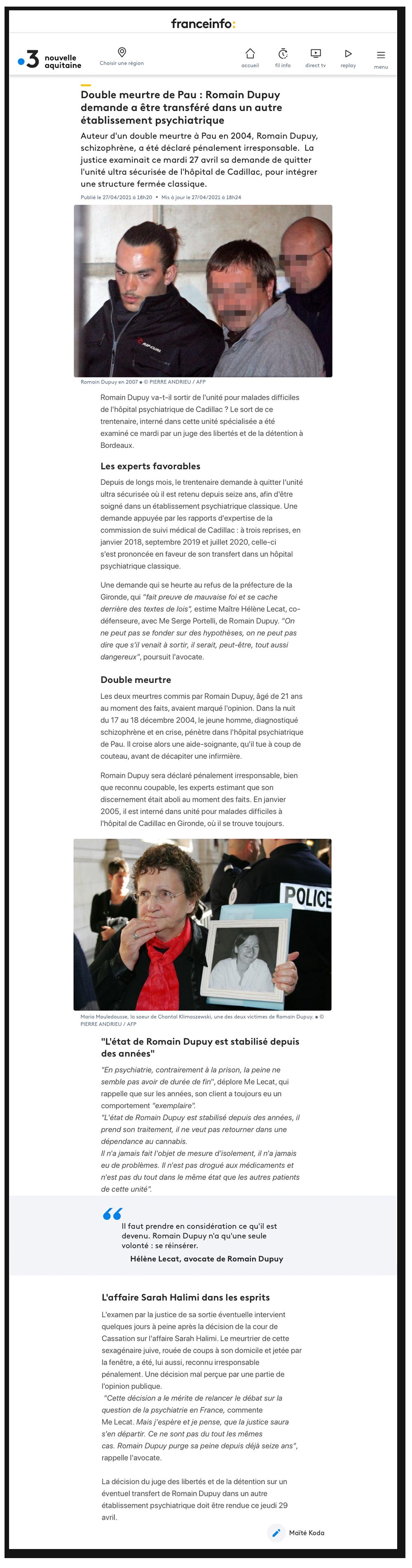 Double meurtre de Pau : Romain Dupuy demande a être transféré dans un autre établissement psychiatrique