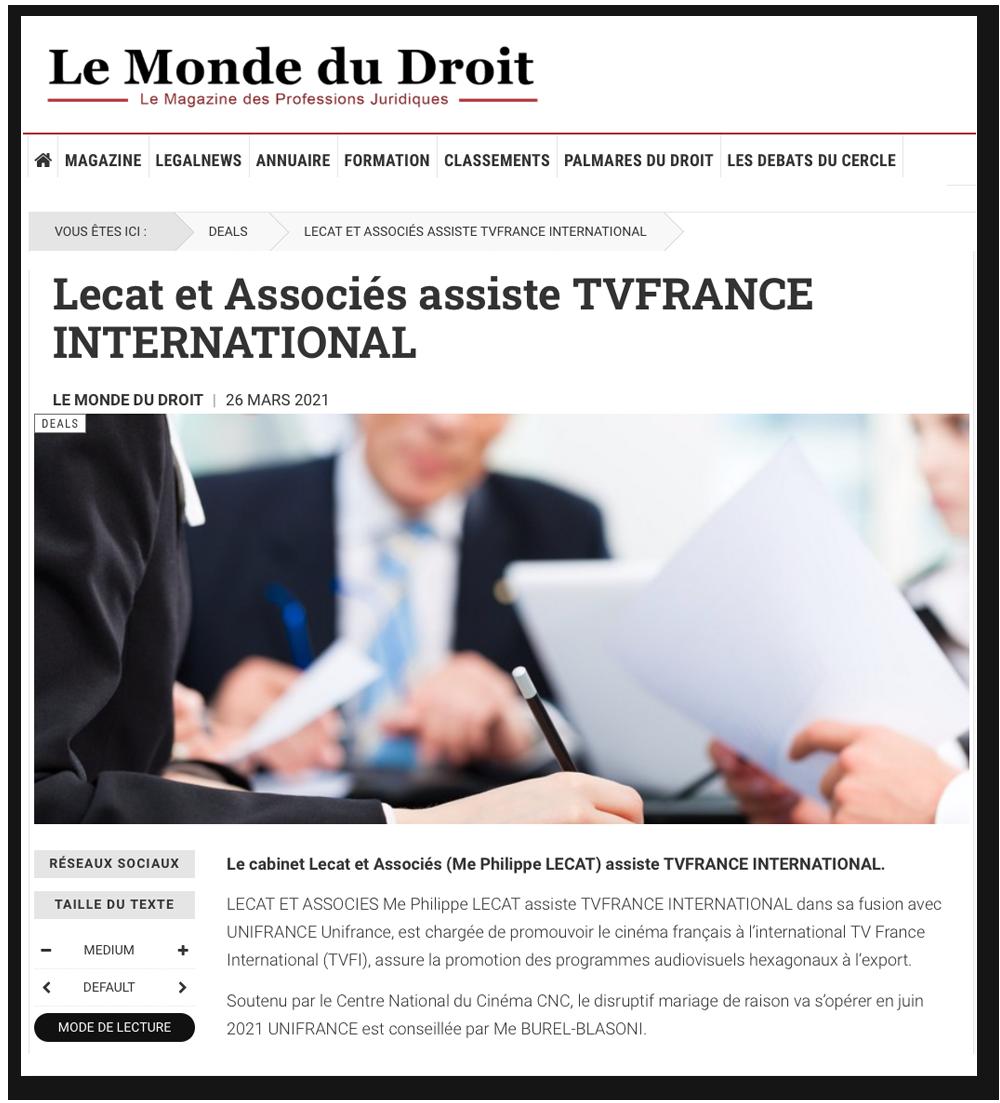 Le Monde du Droit : Le cabinet Lecat et Associés assiste TVFRANCE INTERNATIONAL