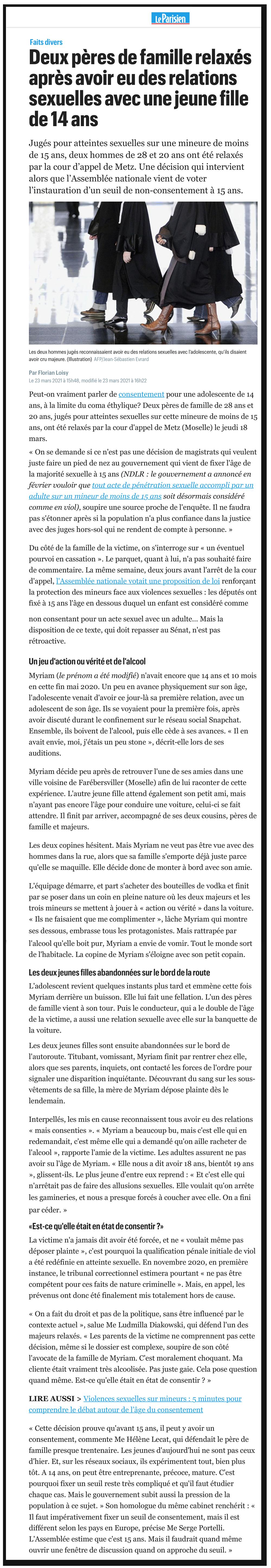 Le Parisien : Deux pères de famille relaxés