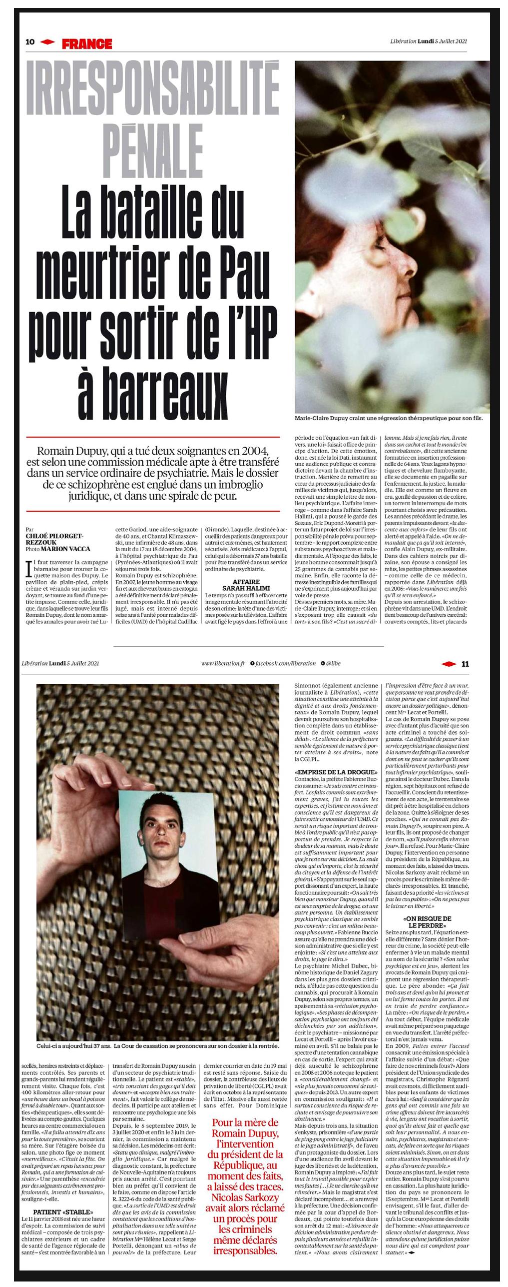 Article Libération : Romain Dupuy irresponsabilité pénale